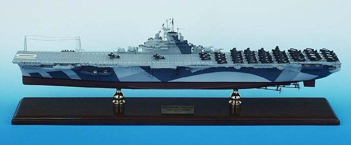 USN - USS Yorktown CV-10 Aircraft Carrier - 1/350 Scale Mahogany Ship Model