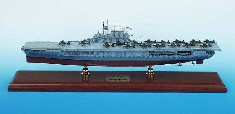 USN - USS Hornet CV-8 Aircraft Carrier - 1/350 Scale Mahogany Ship Model