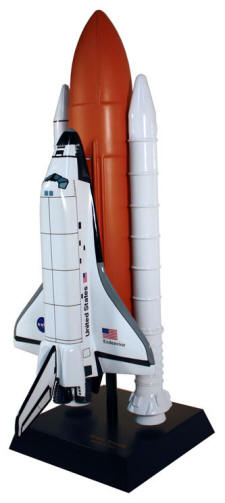 NASA - Space Shuttle Endeavour with Full Stack - 1/100 Scale Mahogany Model