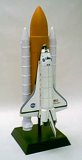 NASA - Space Shuttle Discovery with Full Stack - 1/100 Scale Mahogany Model