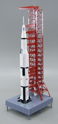 NASA - Apollo Saturn V Rocket with Launch Pad & Tower - 1/200 Scale Mahogany Model