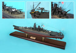 Click Here For A Larger View - Japanese Yamato Battleship - 1/350 Scale Mahogany Model